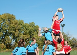 WWRFC's Rachael Weiker wins a lineout against the Milwaukee Scylla, Fall 2009