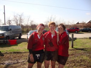 WWRFC's 8-9-10 Teammates: Mary Hanks, Jenn Johnson and Meaghan Odling break in the new team uniforms down at Mardi Gras.