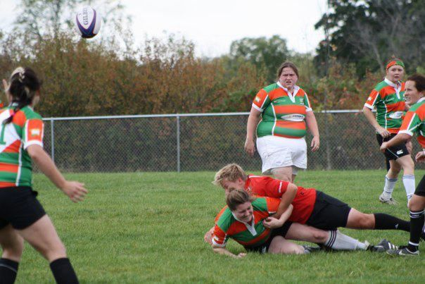 Wisconsin prop Amanda Evenstone lays down a big hit.