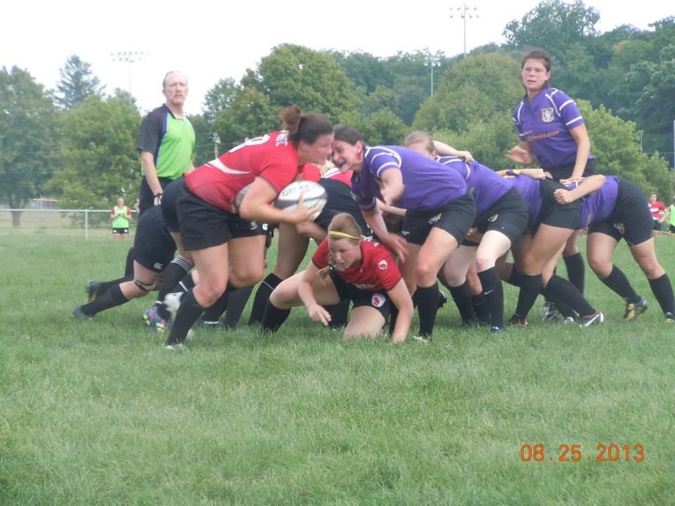 Wisconsin captain and No. 8 Kelly Clerkin on the run after a scrum against Palmer.