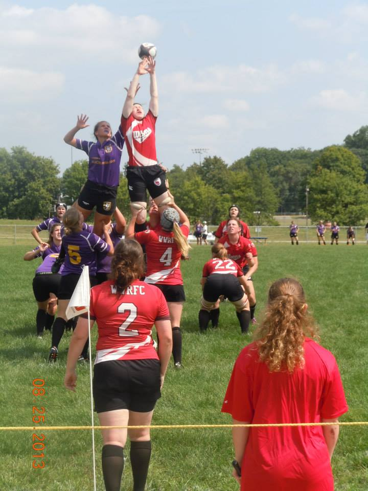 Flanker Kris Peterson battles for the high ball in a lineout vs. Palmer.