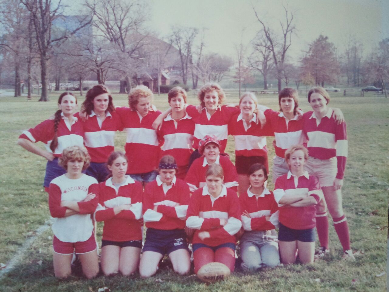 """The first-ever team photo of the Wisconsin Women's Rugby Football Club at a tournament in Indiana in the spring of 1976. Thank you to alumni Nancy """"Red"""" Thorne Cahill for sharing this with our team."""